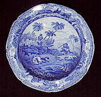 Spode Indian Sporting Series blue and white pearlware plate
