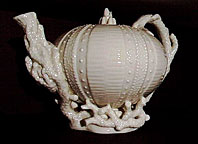Belleek pottery 1st Black Mark Echinus teapot